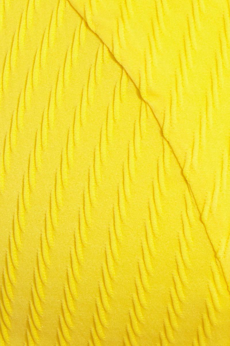 FELLA Julius V Neck Bikini Top - Lemon Bikini Top | Lemon|Julius Top Detail View - Features:  Italian Textured Lycra Back clasp Fits true to size