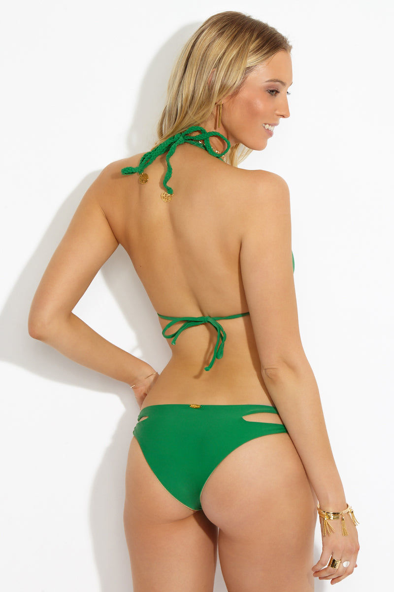 LULI FAMA Reversible Zig Zag Knotted Cut Out Triangle Bikini Top - Palma Bikini Top | Palma| Luli Fama Reversible Zig Zag Knotted Cut Out Triangle Bikini Top Back View Seamless Reversible Triangle Bikini Top Kelly Green Side Glittery Gold Side Knotted Cut Out Design at Bust Adjustable Braided Halter String Ties Adjustable Ties at Back