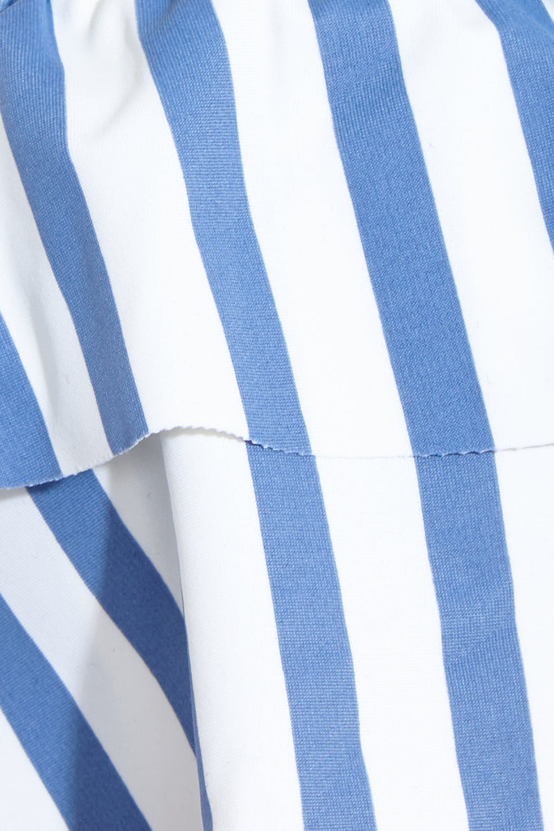 AMUSE SOCIETY Emma Bralette Bikini Top - French Blue Bikini Top   French Blue Emma Bralette Top Detail View - Features:  Off the shoulder bikini top Flounce ruffle bandeau Blue light blue striped Inner bralette with elastic rubber