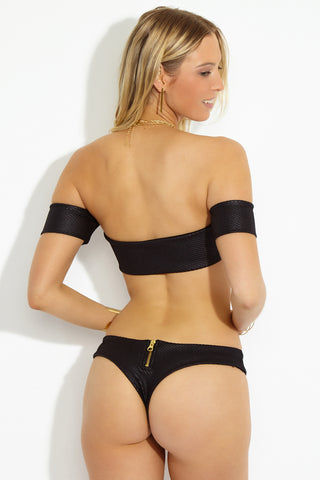 BEACH BUNNY Zoey Tango Cheeky Bikini Bottom - Black Textured Bikini Bottom | Black Textured |Beach Bunny Zoey Tango Cheeky Bikini Bottom - Black Textured View Features:  Black stretch textured fabric bikini bottom Gold zipper detail at back Moderate to minimal coverage Mid rise bottom with slight cheeky feel