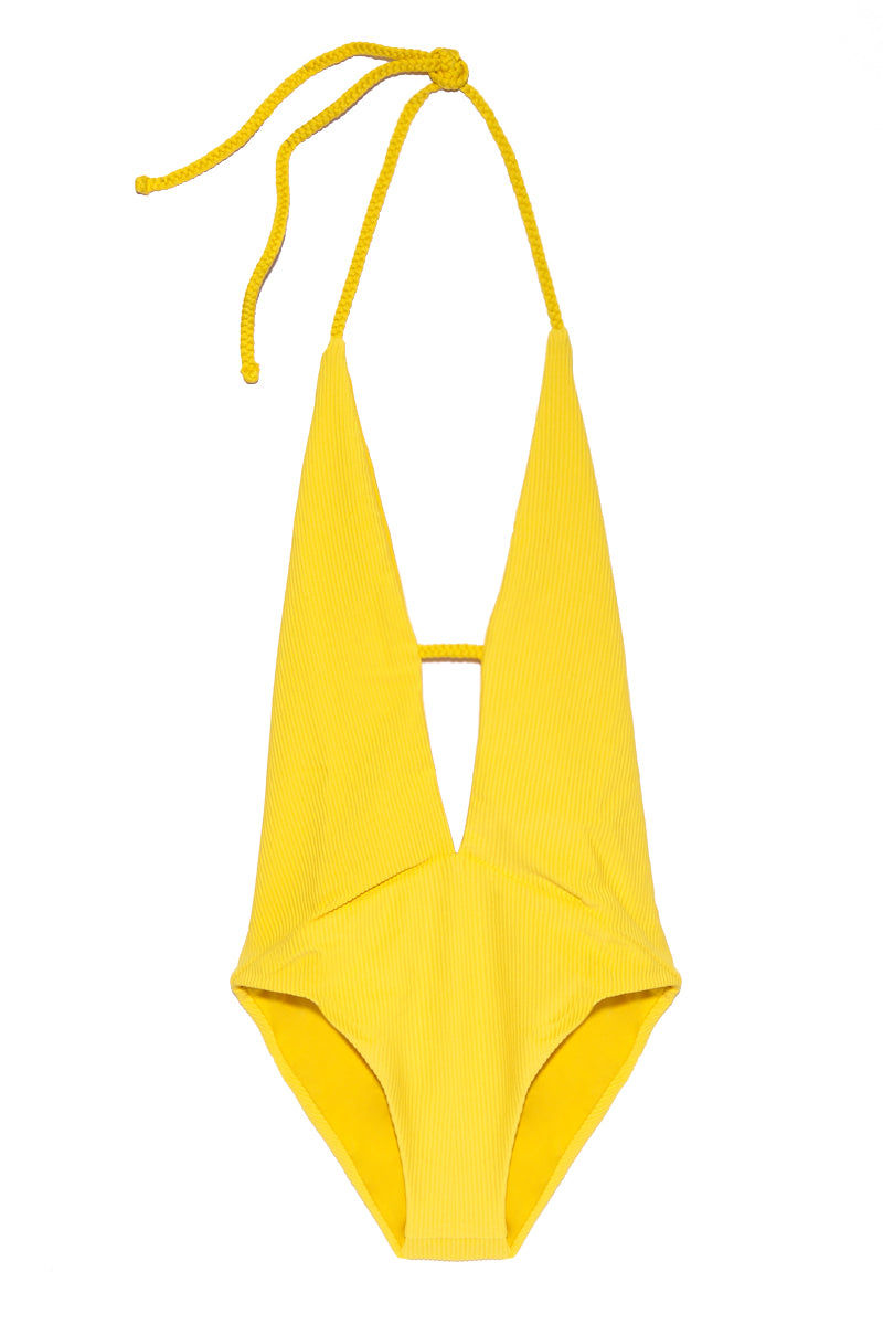 FRANKIES BIKINIS Lily One Piece - Yellow One Piece | Yellow| Frankies Bikinis Lily One Piece - Yellow Flat Lay View Yellow Deep Plunging V-Neck One Piece Swimsuit Adjustable Halter Ties at Neck Moderate Coverage