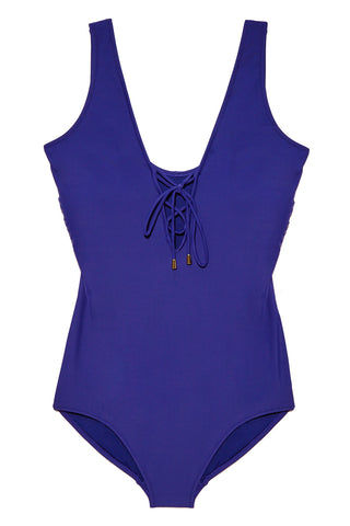PARAMOUR SWIMWEAR Jisoo Lace Up One Piece Swimsuit (Curves) - Indigo One Piece | Indigo| Paramour Swimwear Jisoo Lace Up One Piece Swimsuit (Curves) - Indigo.  Flat Lay View. Lace Up Adjustable Detail. Moderate to full coverage bottom