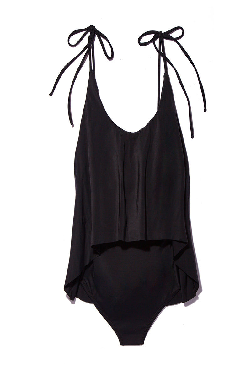MANTA Rio Maillot - Nero One Piece | Nero| Rio Maillot Flat Lay View Classic Black One Piece Swimsuit Adjustable Convertible Halter Ties Scoop Neckline Flounce Overlay Scoop Back Moderate Coverage