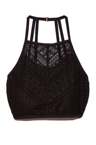 PARAMOUR SWIMWEAR Morgan High Neck Lace Bikini Top (Curves) - Midnight Bikini Top | Midnight| Paramour Swimwear Morgan High Neck Lace Bikini Top (Curves) - Midnight.  Flat Lay View. High neck back lace bikini top. Aztec pattern lace fabric. Scrappy back detail. Supportive.