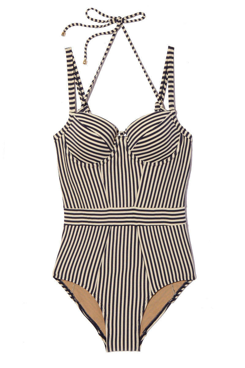 MARLIES DEKKERS Holi Vintage Plunge Balcony One Piece Swimsuit (Curves) - Blue Ecru One Piece | Blue Ecru| Holi Vintage Plunge Balcony One Piece Flat Lay View. Underwired supportive one piece. Navy blue and white stripes. Adjustable halter neck string tie. Tummy control.