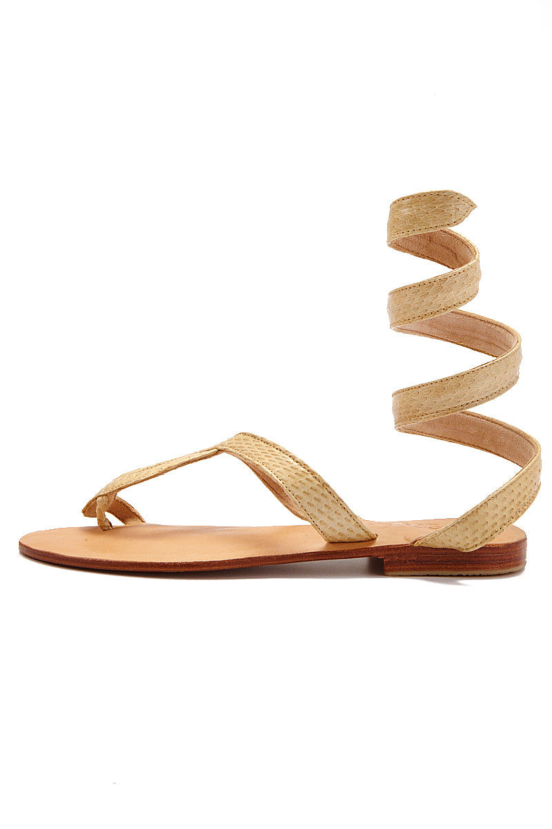 COCOBELLE Snake Wrap Sandals - Taupe Sandals | Taupe| CocoBelle Snake Wrap Sandals Side View