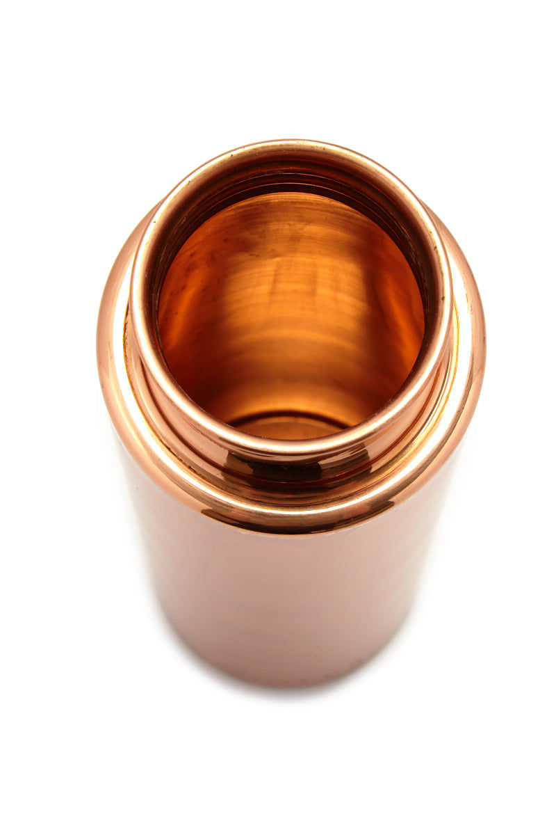 AYUR Naked 32oz Double Wall - Smooth Copper Accessories | Smooth Copper|Naked 32oz Double Wall Top View Large Reusable Double Wall BPA-Free Solid Copper Water Bottle in Sleek Smooth Finish Easy Swinging Handle Anti-Bacterial Anti-Inflammatory Ayurveda