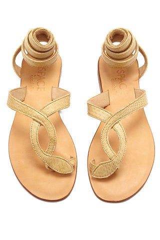 COCOBELLE Snake Wrap Sandals - Taupe Sandals | Taupe| CocoBelle Snake Wrap Sandals Front View
