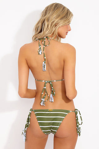 BEACHCANDY Alexa Candy Tie Side Bottom - Olive Stripe Bikini Bottom | Olive Stripe| Beach Candy Alexa Candy Tie Side Bottom - Olive Stripe Back View Tie Side Bikini Bottom  Tassel Ends with Candy Detail  Cheeky Coverage  Made in California  Genuine Swarovski Crystals