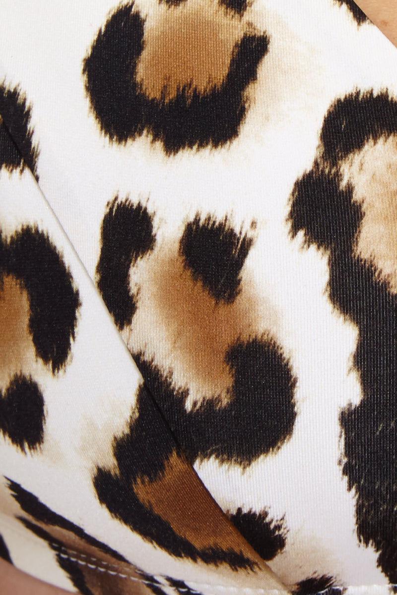 VITAMIN A Capri Top - Snow Leopard Bikini Top | Snow Leopard| Vitamin A Capri Top Fabric Detail View Off the Shoulder Bikini Top Cap Sleeves Leopard Print Wide Back Band