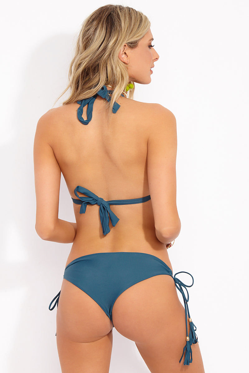 MIA MARCELLE Alyssa Tie Side Bikini Bottom - Teal Bikini Bottom | Teal|Alyssa Bottom Features:  Low Rise Bottom  Tie Side with Tassel Ends  Moderate Coverage