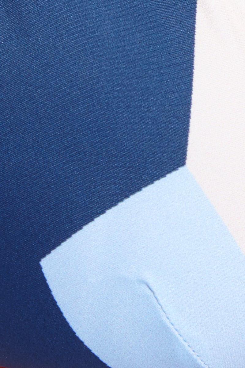 VITAMIN A Moss Top - Mezcal Bikini Top | Mezcal| Vitamin A Moss Top Fabric Detail View Geometric Print Triangle Bikini Top Adjustable Shoulder Straps Swan Hook Back Closure