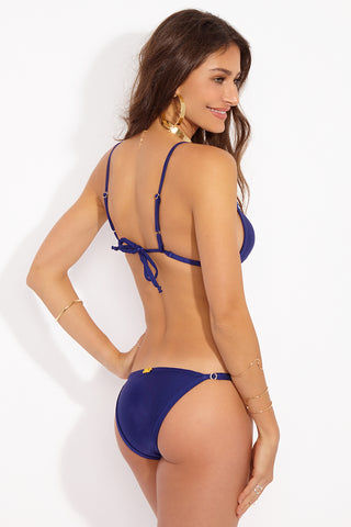 BEACHCANDY Mika Ring & Slide Bottom - Blu Abyss Bikini Bottom | Blu Abyss| Beach Candy Mika Ring & Slide Bottom - Blu Abyss Back View  String Bottom Adjustable Side Straps  Cheeky-Moderate Coverage  Made in California