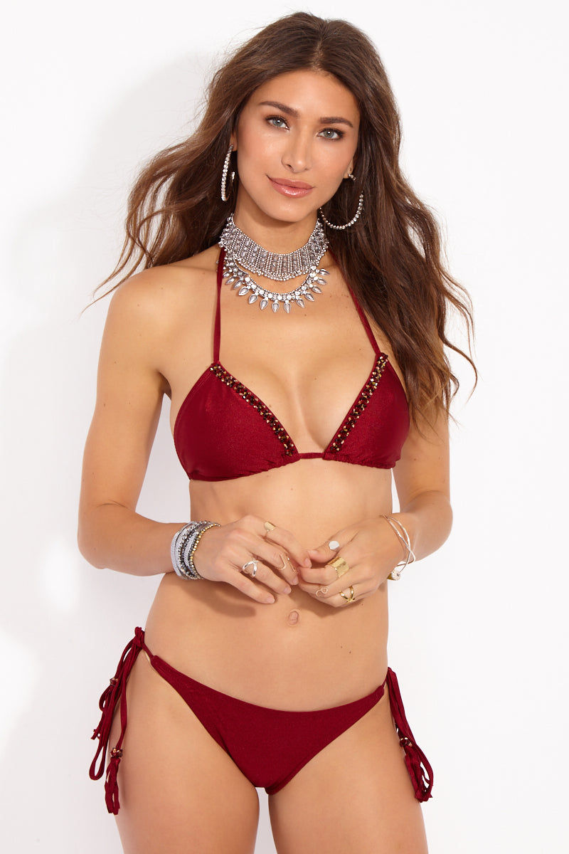 BEACHCANDY Alexa Candy Triangle Top - Besame Bikini Top   Besame  Beach Candy Alexa Candy Triangle Top - Besame Front View Triangle Bikini Top  Halter Neck Tie  Ties at Center Back Supportive  Geniune Swarovski Crystals  Made in California
