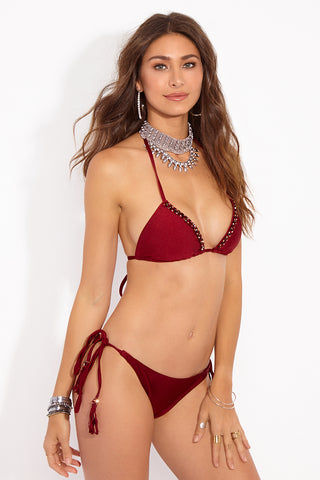 BEACHCANDY Alexa Candy Triangle Top - Besame Bikini Top | Besame| Beach Candy Alexa Candy Triangle Top - Besame Side View Triangle Bikini Top  Halter Neck Tie  Ties at Center Back Supportive  Geniune Swarovski Crystals  Made in California