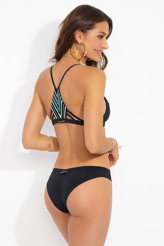STELLAR DUST Artemis Top - Black Bikini Top | Black| Stellar Dust Artemis Top - Black Back View Racerback Bikini Top  Handcrafted Beading Detail on the Back  Sporty Design  Thin Straps  Thicker Elastic Band  Nylon/Spandex/Beading