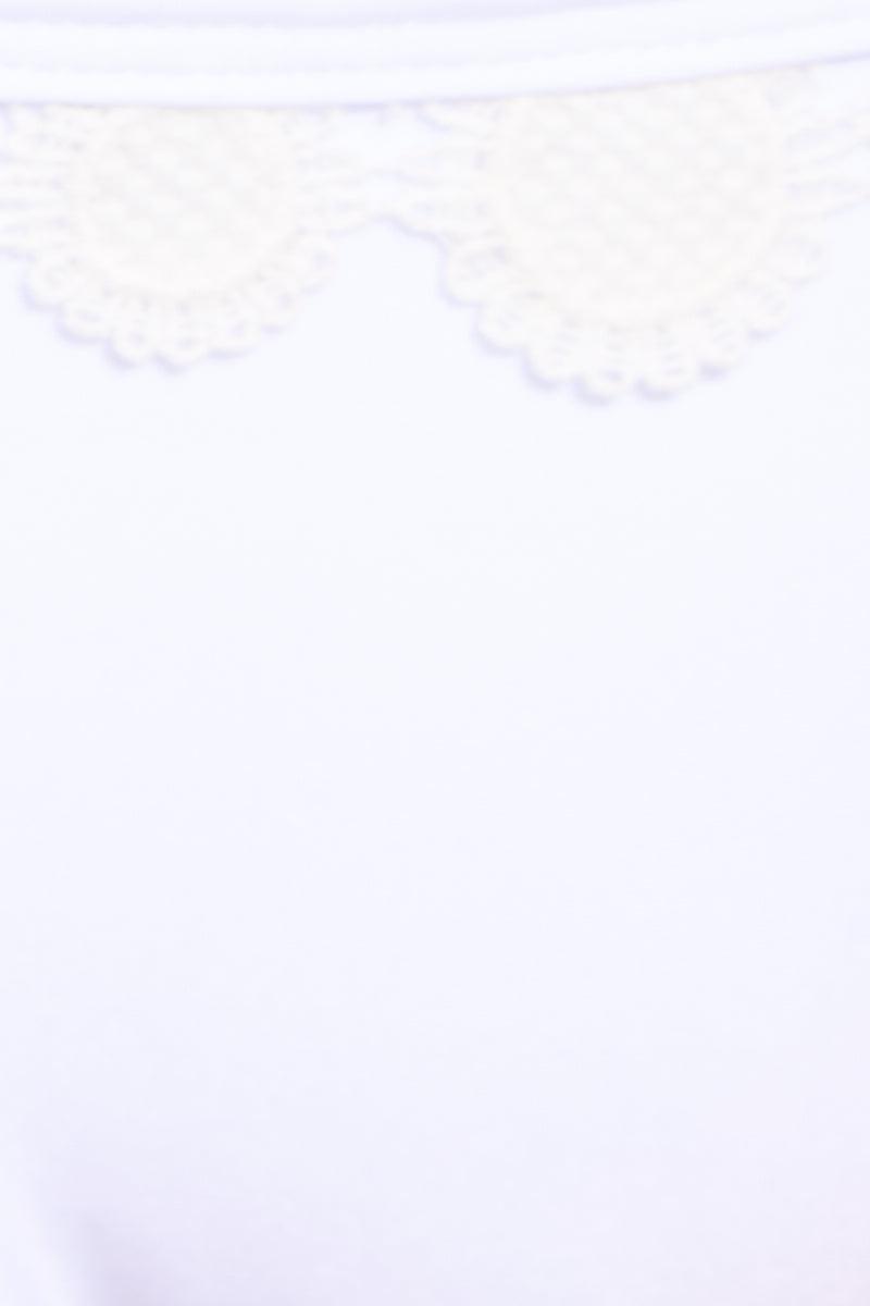 SOAH Hope Top - White Bikini Top | White|SOAH Hope Top Adjustable Lace-Up Front Bikini Top Crochet Frills Detailing Wide Back Band Square Neckline