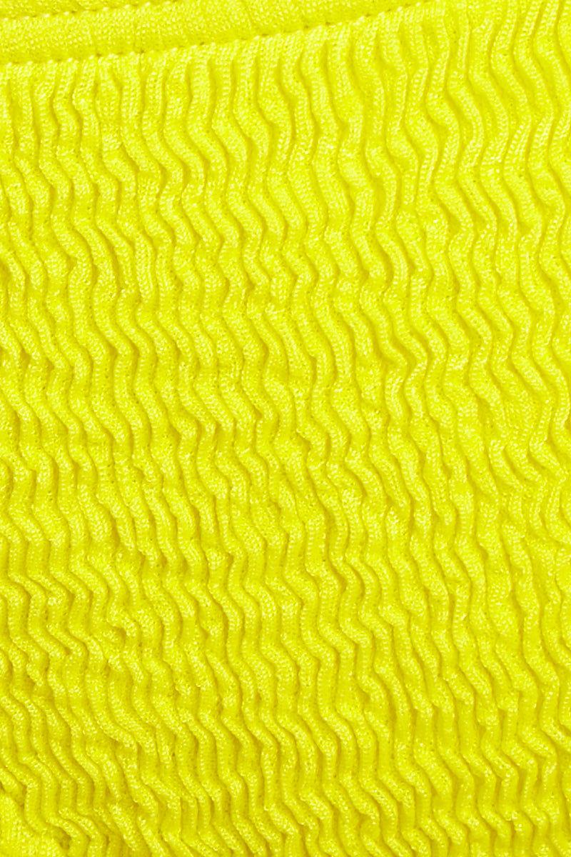 L SPACE Lily Bikini Bottom - Canary Yellow Bikini Bottom | Canary Yellow| L Space Lily Bikini Bottom Detail Fabric View Tie Side Bikini Bottom Low-Rise Cut Adjustable Side Ties Cheeky Coverage