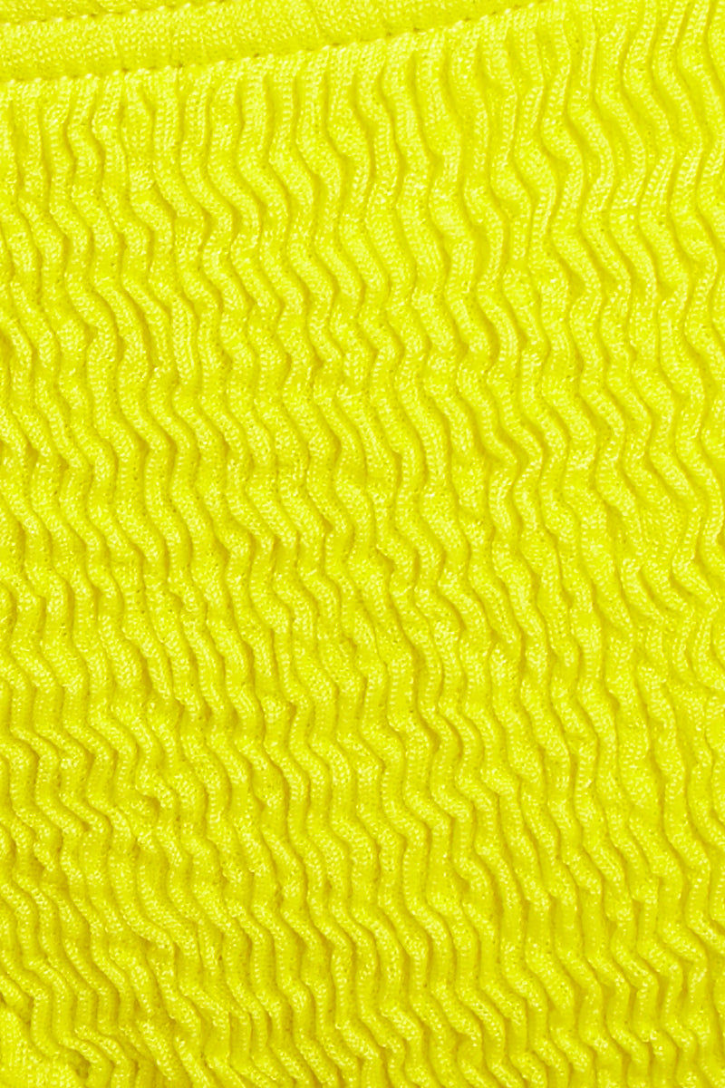 L SPACE Lily Bikini Bottom - Canary Yellow Bikini Bottom | Canary Yellow| L Space Lily Bikini Bottom Detail Fabric View Tie Side Bikini Bottom Low-Rise Cut Adjustable Side Ties Cheeky Coverage