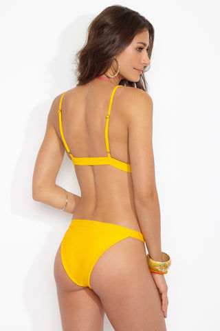 BLACK BEACH Rutherford Triangle Top - Gold Bikini Top | Gold|Rutherford Triangle Top Features:  Triangle style yellow bikini top Adjustable back strap Pull over back style Vibrant yellow gold color