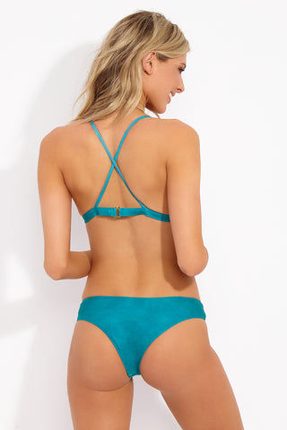 SOAH Rain Top - Turquoise Bikini Top | Turquoise| SOAH Rain Top Back View Classic Triangle Style Bikini Top Crochet Detailing Adjustable Shoulder Straps Crisscross Back Clasp Closure at Back