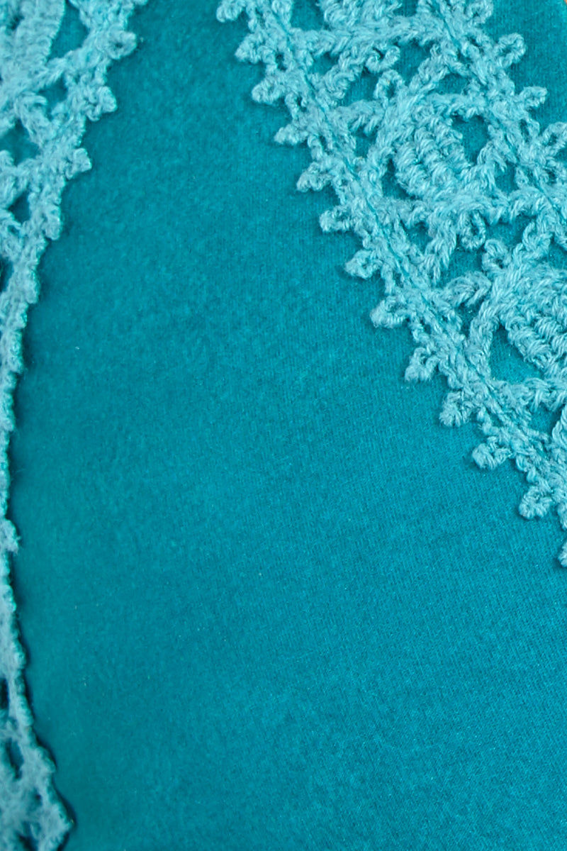 SOAH Rain Top - Turquoise Bikini Top | Turquoise| SOAH Rain Top Detail View Classic Triangle Style Bikini Top Crochet Detailing Adjustable Shoulder Straps Crisscross Back Clasp Closure at Back
