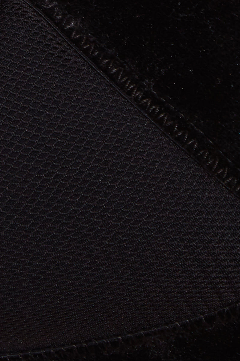 DBRIE The Charli Top - Noir Velvet Bikini Top | Noir Velvet| Dbrie The Charli Top - Noir Velvet Fabric Close-up stretchy black triangle bikini top with mesh cups and elastic velvet contrast trim