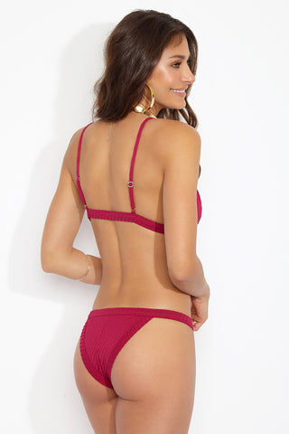 FELLA Logan Bottom - Magenta Bikini Bottom | Magenta|Logan Bottom Back View Features:  Italian Textured Fabric Classic tanning cut bottom with thin binded sides This best seller features a cheeky cut bum Suitable for girls with both curves and a more tom boy figure