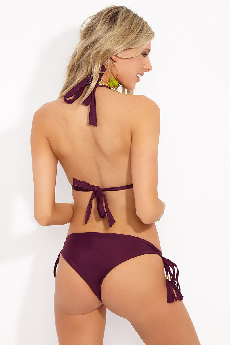 MIA MARCELLE Alyssa Tie Side Bikini Bottom - Wine Bikini Bottom | Wine|Alyssa Bottom Back View Features:  Low Rise Bottom  Tie Side with Tassel Ends  Moderate Coverage