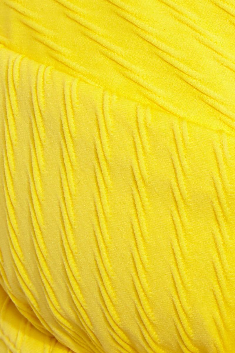 FELLA Rick James Bottom - Lemon Bikini Bottom | Lemon| Rick James Bottom Detail View Bright yellow hipster bikini bottom in on-trend textured fabric with moderate to full coverage