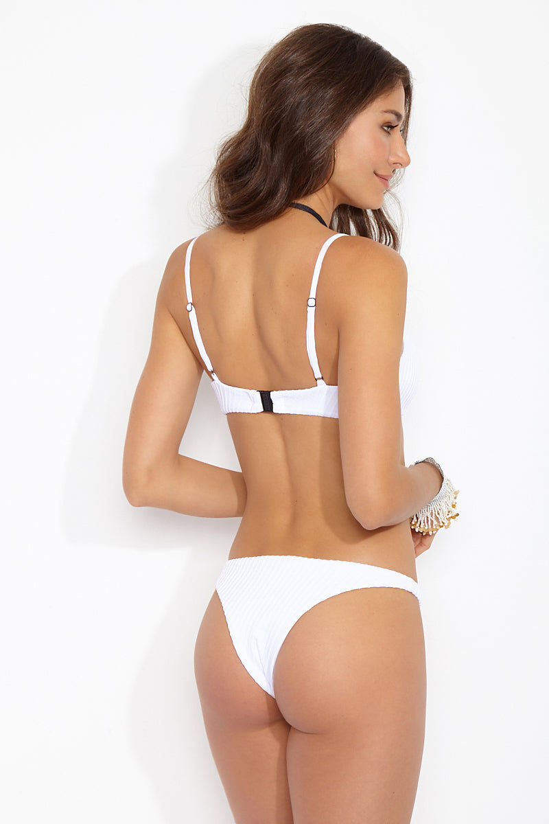 FELLA Mr Smith Low Rise Cheeky Bikini Bottom - White Bikini Bottom | White|Mr Smith Bottom Back View Features:  Italian Textured Lycra Thin side low cut cheeky bottom The perfect tanning bottom for girls who want a side thinner than the Sean