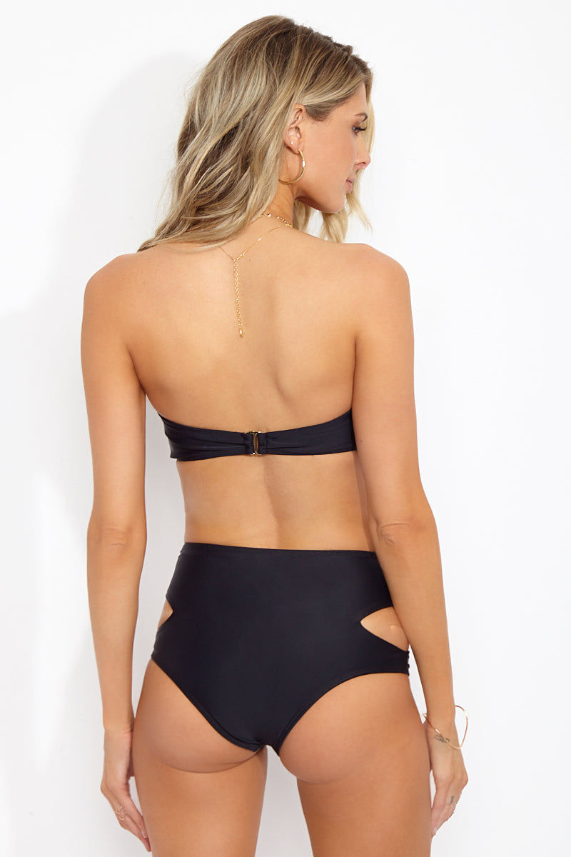 BEACH RIOT Kelsey Bandeau Bikini Top - Black Moon Bikini Top | Black Moon| Beach Riot Kelsey Bandeau Bikini Top - Black Moon  Back View Bandeau Top  Beading Detail  Back Hook Closure  Nylon/Spandex blend Hand wash cold; lay flat to dry Made in the USA