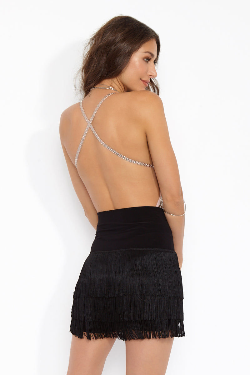 NORMA KAMALI All Over Fringe Shorts - Black Shorts | Black| Norma Kamali Shorts All Over Fringe - Black Back View Fitted Micro shorts High-waisted Stretch jersey base short Pull on Dry clean only Poly/spandex base Rayon/poly fringe