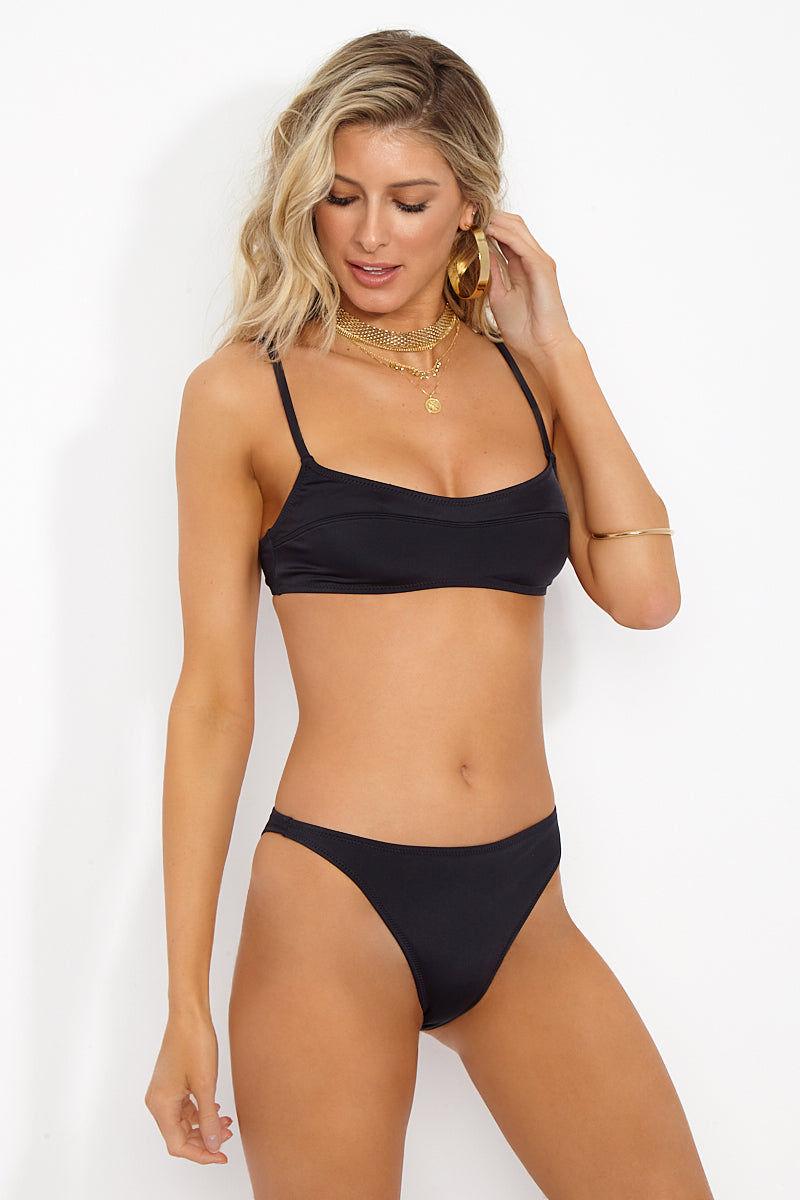 SOLID & STRIPED The Elsa Bralette Bikini Top - Black Bikini Top | Black| Solid & Striped The Elsa Bralette Top- Black Side View