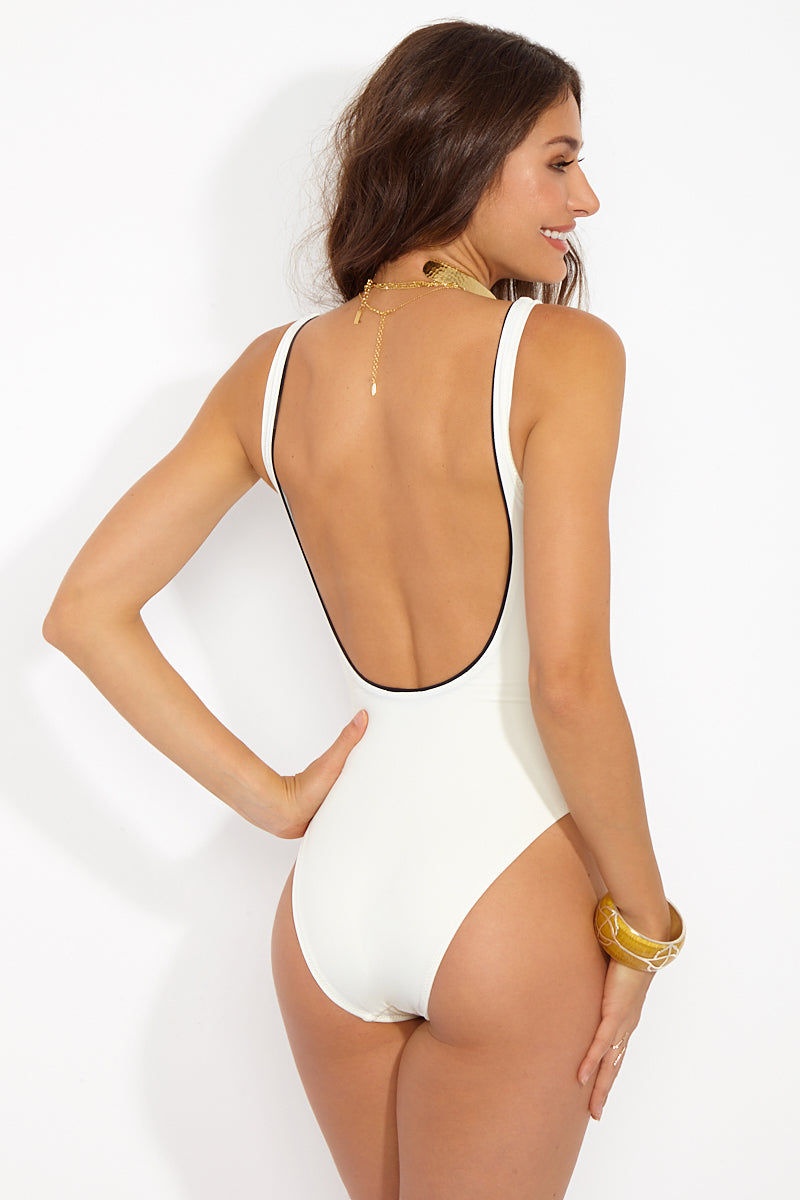 SOLID & STRIPED The Juliette Buttoned One Piece Swimsuit - Cream/Black One Piece | Cream/Black|The Juliette One Piece Features:  Faux double breasted buttons Moderate coverage