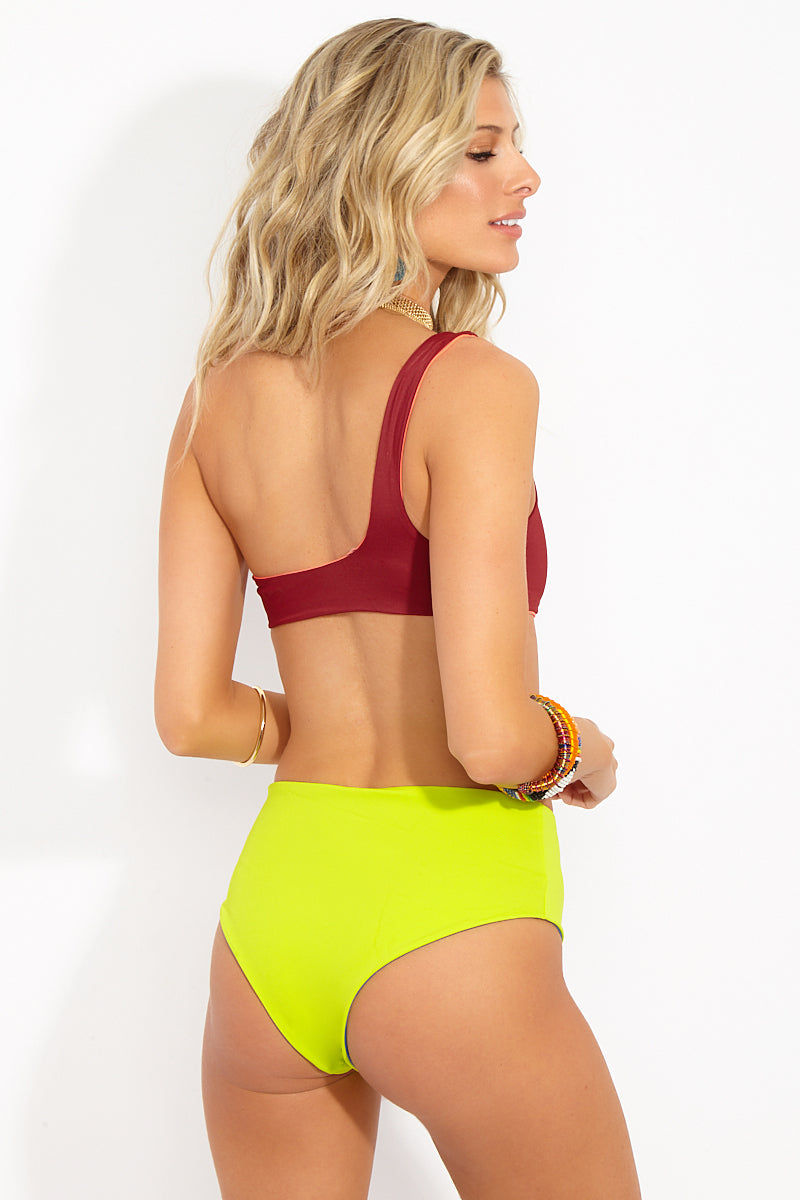 SOLID & STRIPED The Isabeli High Waisted Bikini Bottom - Jewels Neon Bikini Bottom | Jewels Neon| Solid & Striped The Isabeli High Waisted Bottom - Jewels Neon Back View High Waisted Bikini Bottom Reversible Cheeky Coverage