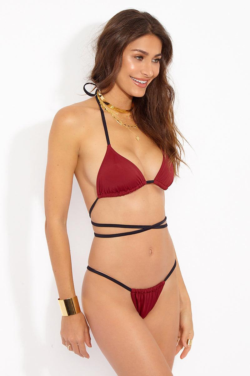 SOLID & STRIPED The Hannah String Bikini Bottom - Rust/Black Bikini Bottom | Rust Black| Solid & Striped The Hannah String Bottom