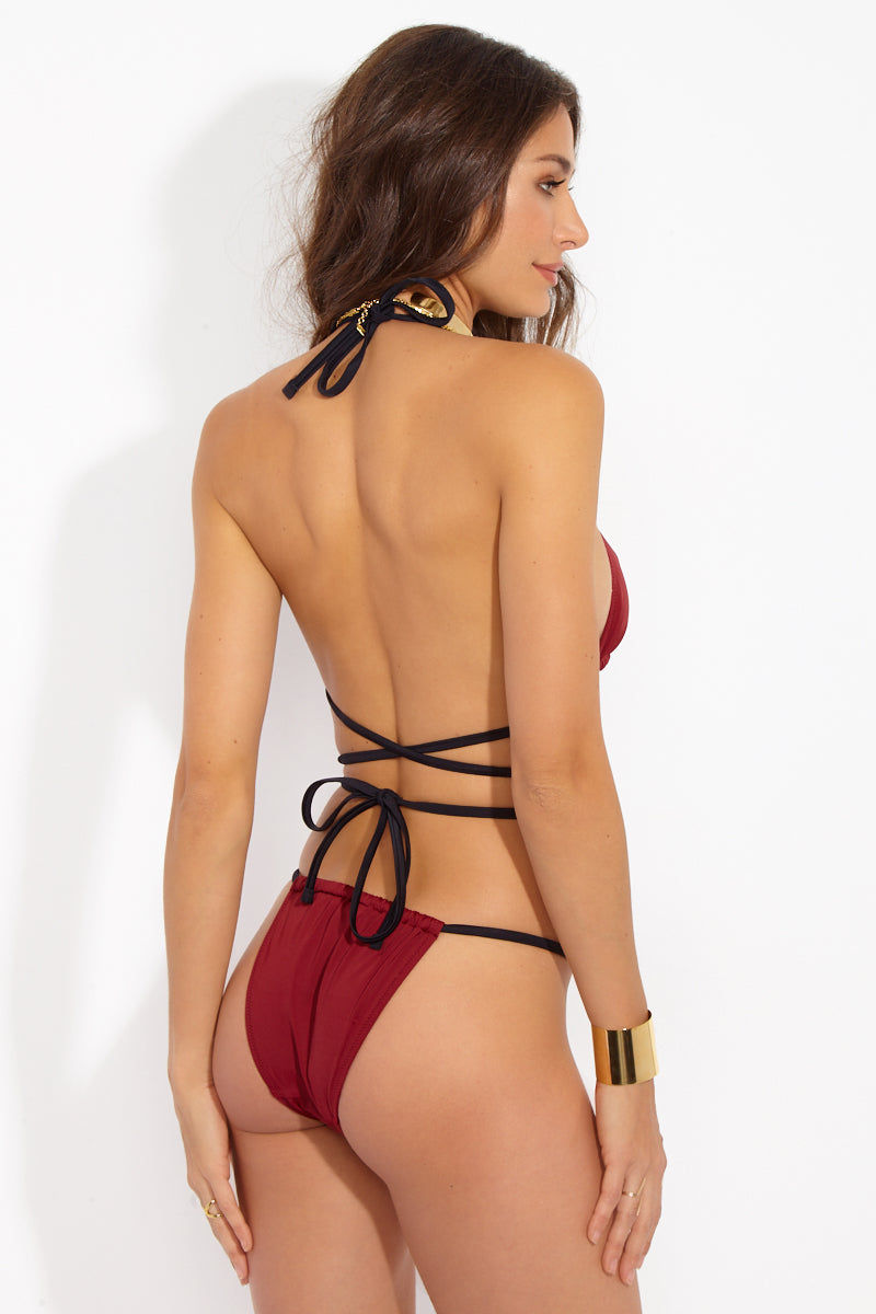 SOLID & STRIPED The Hannah Wrap Bikini Top - Rust/Black Bikini Top | Rust Black| Solid & Striped The Hannah Wrap Top - Rust Black Front View Triangle Top  Wrap Top  Ties at Halter Neck