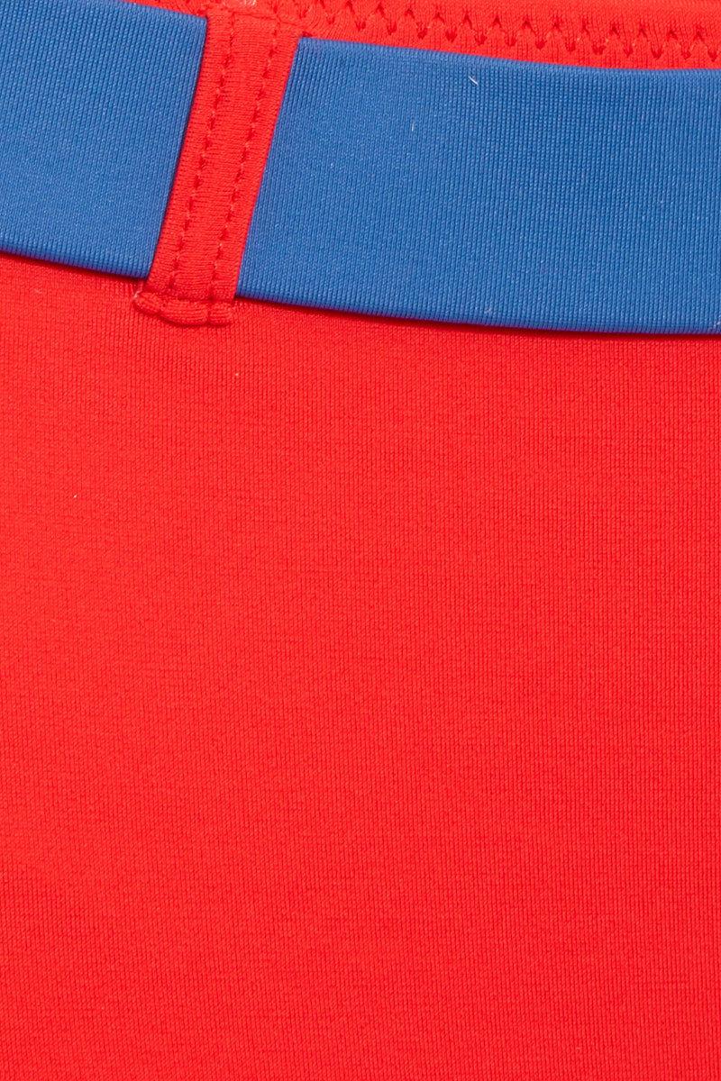 SOLID & STRIPED The Josephine Belted Bikini Bottom - Red Bikini Bottom | Red| Solid & Striped The Josephine Belted Bottom - Red Back View High Waisted Bikini Bottom Accent Belt   High Cut Leg Cheeky Coverage