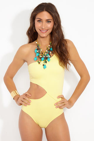 SOLID & STRIPED The Claudia Asymmetric Cut-Out One Piece Swimsuit - Pastel Yellow One Piece | Pastel Yellow|The Claudia One Piece Front View Features:  One shoulder pastel yellow one piece Side cut out detail Moderate coverage