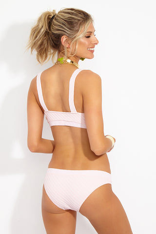 SOLID & STRIPED The Madison Mid Rise Bikini Bottom - Pink Basket Weave Bikini Bottom | Pink Basket Weave|Solid & Striped The Madison Bottom - Pink Basket Weave Back View