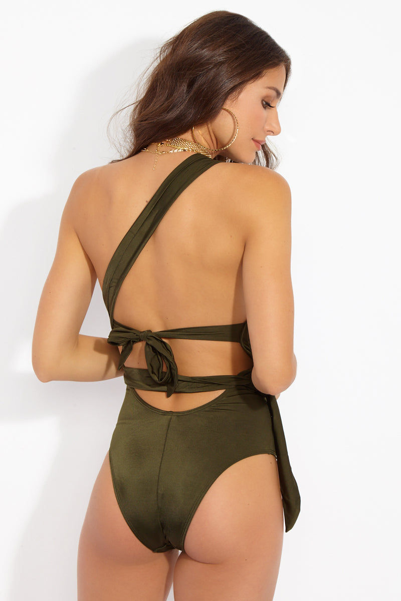 WE ARE HAH 1 4 Ur Soul One Shoulder One Piece Swimsuit - Green Tea One Piece | Green Tea| Hot As Hell 1 4 Ur Soul One Piece - Green Tea Back View One Shoulder One Piece  Wrap Around Ties  Back Ties  High Cut Leg  Cheeky Coverage  Made with signature EFL fabric