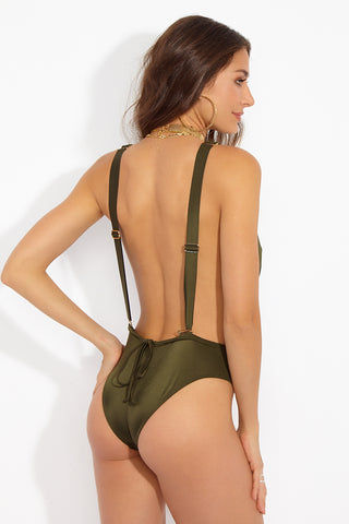 WE ARE HAH Comin' In HAHt Deep Plunge One Piece Swimsuit - Green Tea One Piece | Green Tea| Hot As Hell Comin' In Haht One Piece - Green Tea Back View  Plunging V Neckline  Low Back   Thick Adjustable Shoulder Straps  Stylish Pocket  High Cut Leg Cheeky Coverage