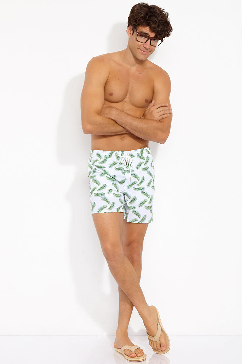 NIRVANIC SWIM MEN Riki Mid Length Swim Trunks - Palm Leaf Print Mens Swim | Palm| Nirvanic Swim Men Riki Mid Length Swim Trunks - Palm Leaf Print Front View Drawstring Swim Trunks Elastic Waistband Side & Back Pockets Mesh Lining 16 in Length  Instant Dry Technology  Polyester  Wash in the waves | Dry in the shade  Made in Colombia