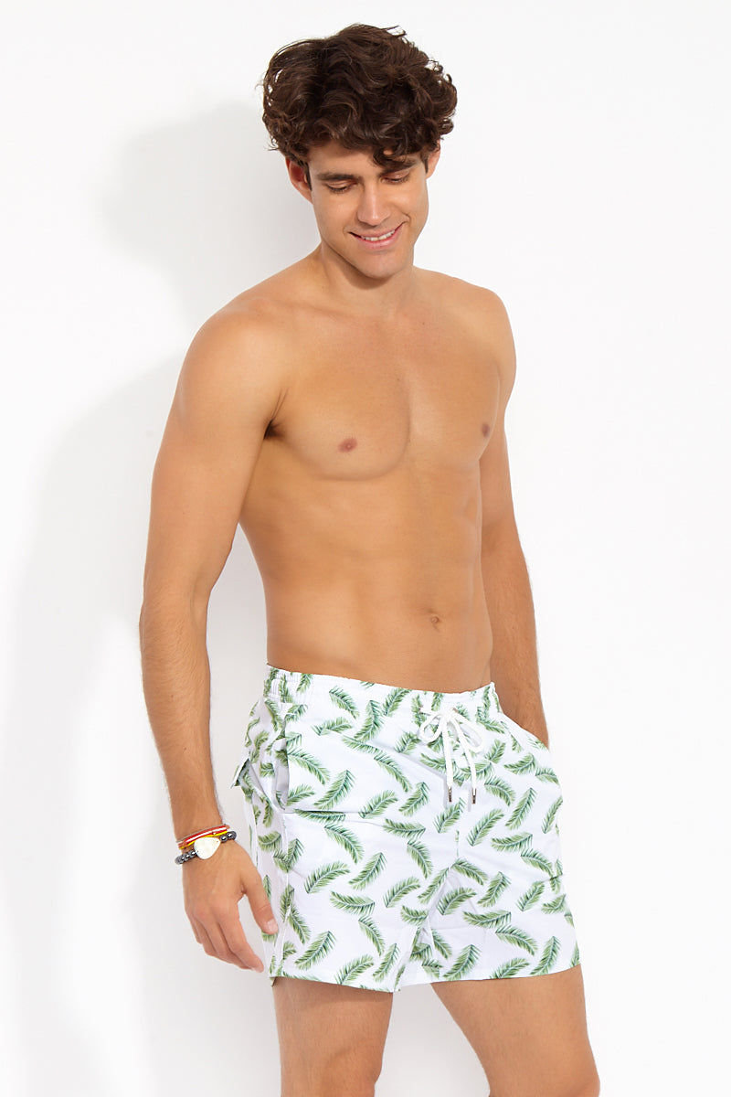 NIRVANIC SWIM MEN Riki Mid Length Swim Trunks - Palm Leaf Print Mens Swim | Palm Leaf Print| Nirvanic Swim MenRiki Mid Length Swim Trunks - Palm Leaf Print Side View Drawstring Swim Trunks Elastic Waistband Side & Back Pockets Mesh Lining 16 in Length  Instant Dry Technology  Polyester  Wash in the waves | Dry in the shade  Made in Colombia