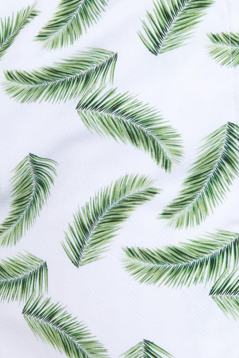 NIRVANIC SWIM MEN Riki Mid Length Swim Trunks - Palm Leaf Print Mens Swim | Palm Leaf Print| Nirvanic Swim Men Riki Mid Length Swim Trunks - Palm Leaf Print Close Up View