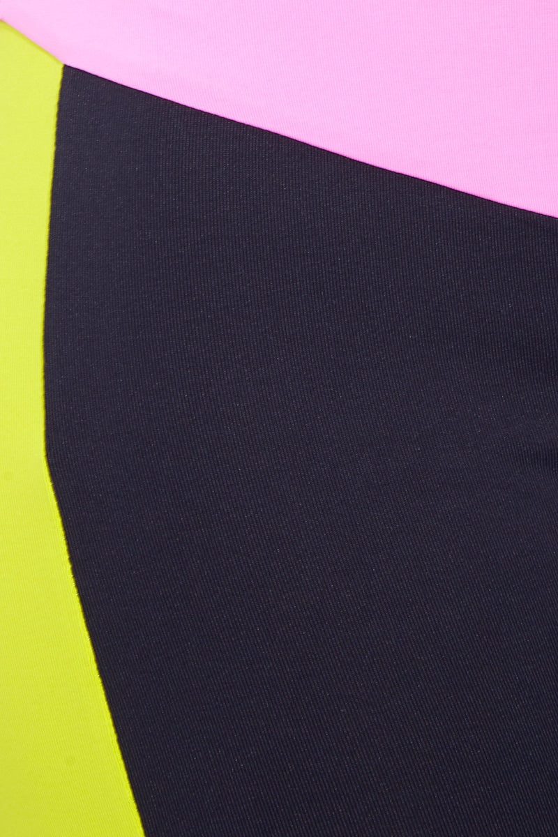 TRIYA Neon Leggings - Black/ Neon Leggings | Black/ Neon|  Triya Neon Leggings - Black/ Neon Close Up View Black Leggings with Neon Color Detail  High Waisted  Color Blocking