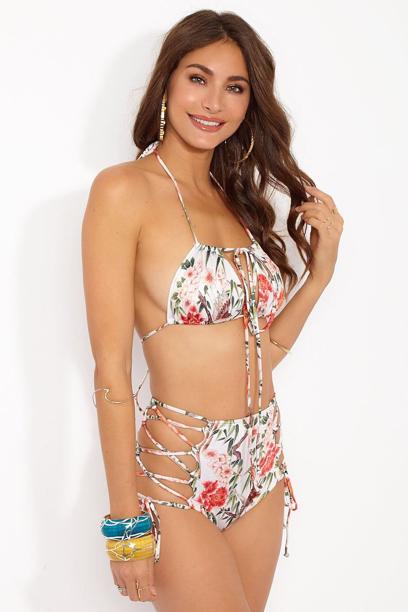 WE ARE HAH Multi-way Trick-Ini Bikini Top - Flock 2Gether Bikini Top | Flock 2Gether|Trick-Ini Top Side View - Features:   Convertible Bikini Top 4+ ways to tie  Can tie at the neck  Can tie at the center back  Can tie at front