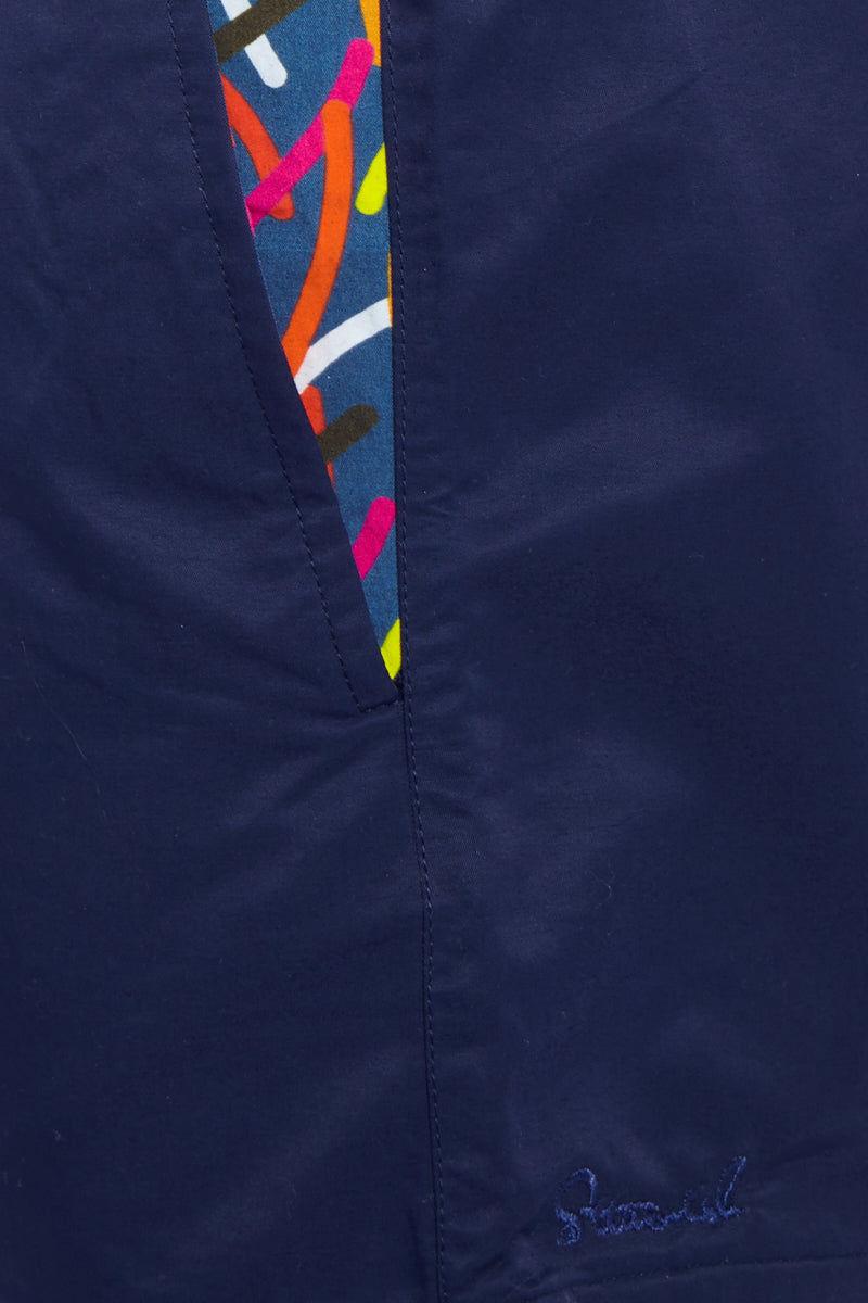 STTARWISH Ula Classic Length Swim Trunks - Ocean Blue Pop Art Mens Swim | Aqua Blue Aqua Pop Art| STTARWISH Ula Classic Length Swim Trunks - Ocean Blue Pop Art. Detailed View. Classic length. Two side angle pockets. Zip pocket at back. Drawstring waist. Mesh net lining. Quick Drying.