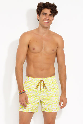 "BROWNLEE Peter Classic Stretch Boardshorts - Yellow Mens Swim | Yellow| Peter Classic Stretch Boardshorts - Yellow. Front View.  Engineered Swimsuit  Made from poly/nylon stretch poplin Fully lined mesh boxer-brief  Elastic waistband  Contrasting drawstring with bronze tipping Jetted side seam pockets Flat felled seams Inseam: 5 ½"" Made in the USA"